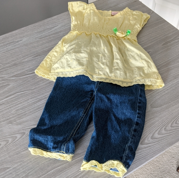 Little Lass Matching Top and Jeans Outfit Size 24m